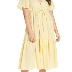 Madewell Yellow Striped V Neck Tiered Dress